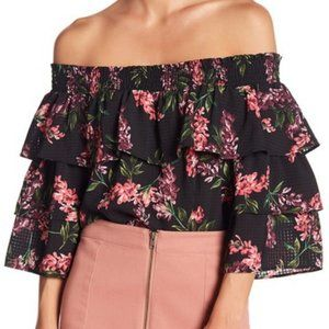New 14th & Union Floral Ruffle Off Shoulder Top SP